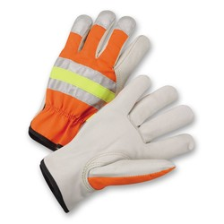High-Visibility Grain Cowhide Leather Driver Gloves
